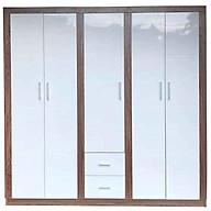 Tủ gỗ quần áo MDF màu trắng 5 cánh thumbnail