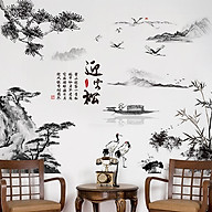 Decal dán tường trang trí phòng khách, quán cafe- Phong thủy đen một tờ- mã sp DXH9262 thumbnail