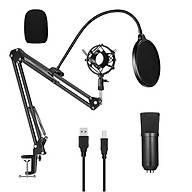 USB 192kHZ 24bit Podcast Recording Microphone Kit Professional Condenser Studio Broadcasting MIC with Stand Plug & Play thumbnail