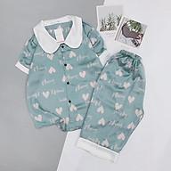 Đồ Ngủ Pijama Lụa Satin Tay Ngắn Cổ Sen Quần Lửng Siêu Xinh - Babi mama - Bộ Mặc Nhà BP04 thumbnail