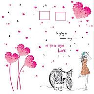 Decal dán tường Trái tim hồng và cô gái xe đạp - HP221 thumbnail