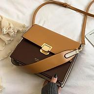 Túi đeo chéo đeo vai nữ công sở T66 phối 2 màu 24x21x10cm (Đen Nâu đậm Nâu sáng - Kem) thumbnail