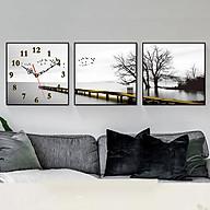 Tranh treo tường, tranh đồng hồ NT099 bộ 3 tấm ghép thumbnail