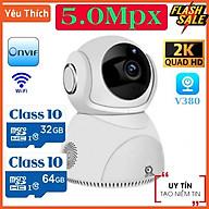Camera Wifi V380 Pro Q8 5.0MPx , Đàm Thoại 2 Chiều Xoay 360 Độ Cảm Biến Chuyển Động Camera hồng ngoại ban đêm siêu nét thumbnail