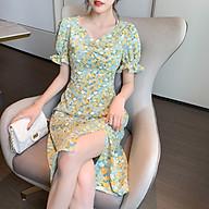 Đầm Hoa Maxi Cổ Chữ V Tay Ngắn Phong Cách Retrol Hàn Quốc - MSP D08 thumbnail