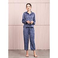 Đồ ngủ mặc nhà nữ Freedy Bộ dài tay lụa hàn họa tiết xanh tím thumbnail