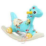 Ngựa bập bênh PONY cho bé đa năng có bánh kiêm xe chòi chân có nhạc (Xanh-Hồng) thumbnail