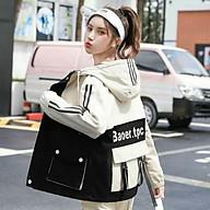 Áo khoác dù nữ túi hộp 2 nút, có nón, có 2 sọc chạy dài ở tay phonh cach Hàn thumbnail