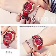 Đồng hồ nữ đeo tay dây da Guou viền mạ vàng chính hãng chống nước tuyệt đối 8076 thumbnail