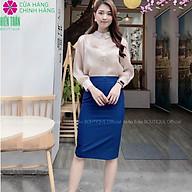 Chân váy bút chì cạp cao Hiền Trần BOUTIQUE, có lớp lót, chân váy công sở form chuẩn, mặc tôn dáng, xẻ sau-Xanh thumbnail