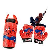 Túi Đấm Bốc Boxing Cho Trẻ Em Hình Người Nhện Đỏ Size Trung 37 18 18 cm, Kèm 2 Găng Tay Cho Bé+Tặng Kèm Hình Dán thumbnail