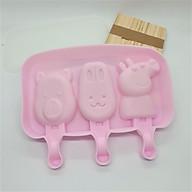 Khuôn làm kem silicon Mẫu Gấu Thỏ Heo kèm 50 que gỗ tiện dụng thumbnail