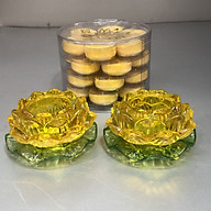 Combo 2 chiếc Đế để nến thuỷ tinh hoa mẫu hoa sen vàng có đế ( tặng kèm 1 hộp nến bơ 4h , 28 viên) thumbnail