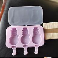 Khuôn làm kem silicon Hình Người Tuyết (Snowman) kèm 50 que gỗ tiện dụng thumbnail
