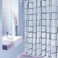 Rèm phòng tắm họa tiết vuông gam màu trắng, kèm theo móc, chống thấm HT718 - 180-180cm thumbnail