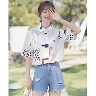 Áo Sơ Mi Nữ Form Rộng In Họa Tiết Dễ Thương Phong Cách Hàn Quốc Chất Liệu Kate Chống Nhăn Thời Trang 4YOUNG thumbnail