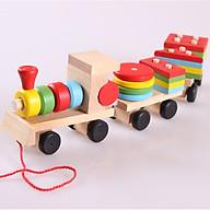 Đồ chơi gỗ tàu hỏa chở hình khối cho bé thumbnail