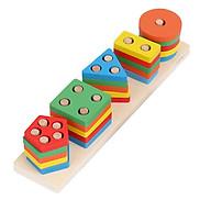 Đồ chơi hình khối bằng gỗ xây dựng 5 cột khối lắp ghép hình học - đồ chơi gỗ thông minh cho bé thumbnail