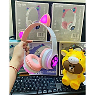 Tai nghe bluetooth có tai mèo cute, Có đèn led đổi màu (Tắt được nếu không muốn sử dụng), Headphone cao cấp thumbnail