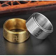Nhẫn xoay Bát Nhã Tâm Kinh khắc chữ Vạn - Nhẫn phong thủy Hán ngữ may mắn bình an Ri99 thumbnail
