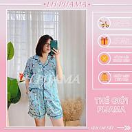 Bộ đồ ngủ, đồ bộ pijama lụa nữ mặc nhà bigsezi áo tay ngắn quần ngắn chất liệu lụa hàn Bigsize thumbnail