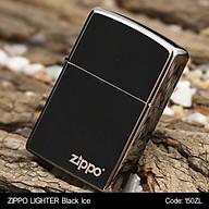 Bật lửa Zippo Chrome Đen Bóng (trơn bóng đen) - Zippo Fullbox thumbnail