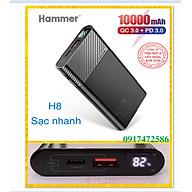 Sạc Dự Phòng Hammer (H08) Li-Ion - Polymer 10.000mAh, Sạc nhanh QC 3.0,PD 18w, LCD -Hàng Chính Hãng, bảo hành 12 tháng thumbnail