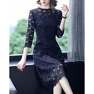 Simple Slim Lace Skirt Temperament Elegant Waist A-line Dress thumbnail