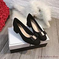 [Hình thật] GC54 Giày cao gót nữ công sở da lì gót vuông đế 5cm hàng VNXK cao cấp thumbnail
