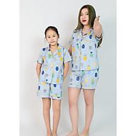 Pijama mẹ và bé áo cộc quần đùi màu xanh tím hình quả dứa thumbnail