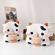 Vỏ Bảo Vệ Tai Nghe Không Dây Bluetooth Hình Bò Trà Sữa dành cho Airpods Chất Lượng Silicon Dẻo Chống Va Đập thumbnail