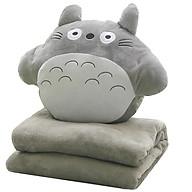 Combo Mền Gối Ngủ Văn Phòng Tiện Lợi Totoro Tròn Màu Xám Siêu Mịn 1.1x1.7m thumbnail