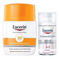Kem Chống Nắng Không Gây Nhờn Rít Cho Da Thường Và Da Hỗn Hợp Eucerin Sun Fluid Mattifying Face Spf50+ (50Ml) - tặng nước tẩy trang Dermato Clean (125ml) thumbnail