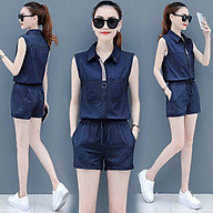 Jumpsuit Jean Short V viền cổ sọc thời trang Cao Cấp TP07 thumbnail