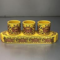 Bộ cúng Nước 3 Ly bằng sứ nhũ Gấm Vàng Sen DA1267 thumbnail