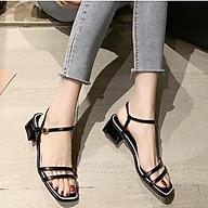 Giày xăng đan nữ quai kép trước gót vuông 5cm quai hậu móc da PU mềm C02 thumbnail