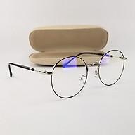 Gọng kính nam nữ mắt cận tròn kim loại màu đen, bạc vàng SA1912. Tròng kính giả cận 0 độ chống ánh sáng xanh, chống nắng, tia UV thumbnail