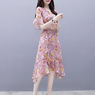 Đầm Voan Tay Loe Họa Tiết Hoa Hồng (Size S) thumbnail