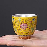 Chén Bạc uống trà Hoa Sen ngũ sắc màu vàng thumbnail