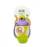 Bình uống nước 250ml ống hút nắp bật (có quai xách) Pur nhập khẩu Thailand cho bé (đa màu) thumbnail