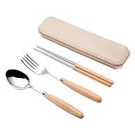 Combo thìa, đũa, dĩa inox có hộp đựng làm từ lúa mạch, an toàn cho sức khỏe thumbnail
