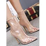 Boot nữ trong suốt gót nhọn cổ lửng THỜI THƯỢNG GBN40 thumbnail