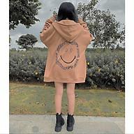 Áo khoác hoodie dây kéo form rộng EVERYTHING ulzzang, Áo Khoác Nỉ mặt cười nâu unisex form rộng thumbnail