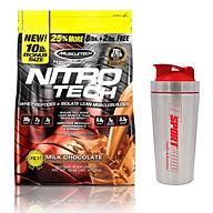 Combo Sữa tăng cơ giảm mỡ cao cấp Nitrotech của Muscletech hương Chocolate bịch lớn 10lbs 100 lần dùng & Bình INOX 739ml (Mẫu ngẫu nhiên) thumbnail