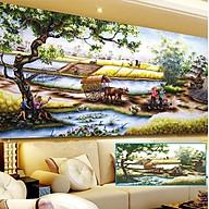 Tranh thêu chữ thập thêu kín Phong Cảnh Đồng Quê (106 58cm) chưa thêu thumbnail