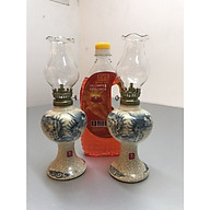 Đôi đèn thờ đốt dầu men rạn vẽ rồng ( tặng kèm 1chai dầu 500ml) - TL218 thumbnail