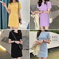 Đầm Suông Trơn Basic Cổ Tròn Tay Ngắn Stye Thời Trang Hàn Quốc - MSP D01 thumbnail