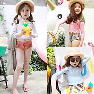 Bộ đồ bơi tay dài bé gái LOVE PEACH croptop quần cạp cao siêu kute thumbnail