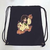 Balo dây rút đen in hình INUYASHA anime chibi Khuyển Dạ Xoa túi rút đi học xinh xắn thời trang thumbnail