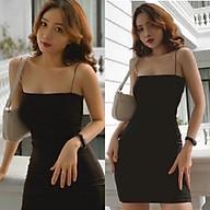 Đầm body 2 dây đen form ngắn quai mảnh - Váy 2 dây sợi bún thumbnail